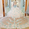 Gorgeous ivory bridal gown blue lace short sleeves ball gown lace wedding dress vestidos de noivas real photos