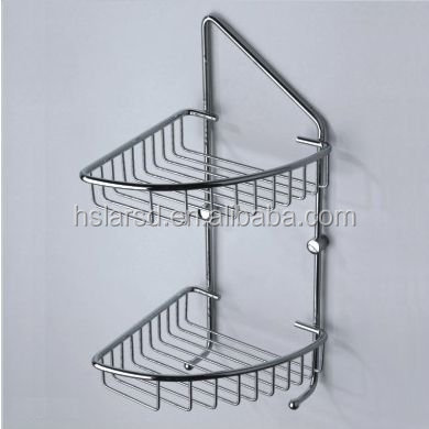 bathroom accessory/angle basket/chrome palted copper double basket wiht hooks