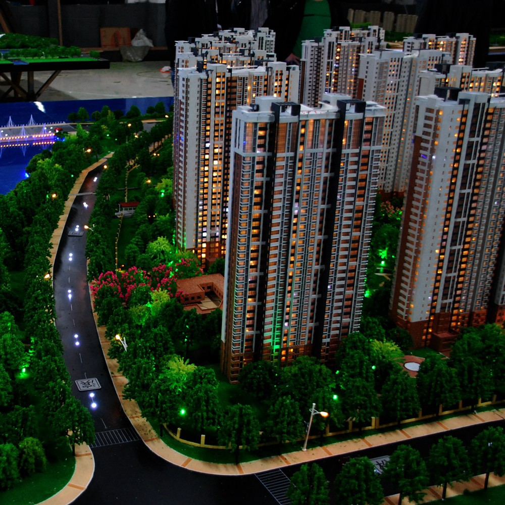 Residential block building model / shanghai ABS building block model factory
