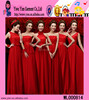 2016 Women Red Chiffon Dress Latest Girls Bridesmaid Red Chiffon Dress
