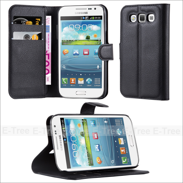 PU Leather Wallet Phone Case Cover For Galaxy Win i8552 With Stand Function