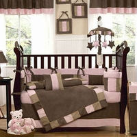 pink brown european baby bedding set