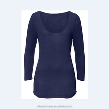 Women's soft and warm low cut round neckline jumper/pure cashmere pullover sweater