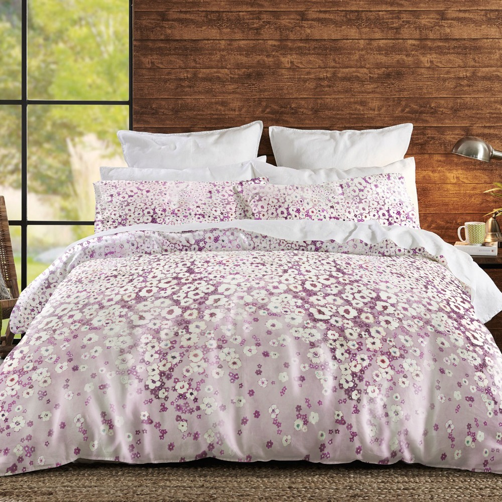 Custom Design Home Textile 100% Polyester King Size Anti Wrinkle 4pcs Dobby Pink Purple Comforter Set Bedding for Living Room