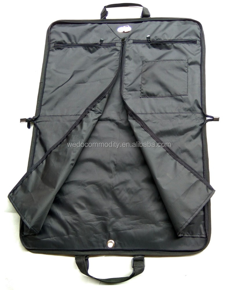 High quality leather garment bag multifuntion travel bag with shoes compartment pockets and adjustable handles
