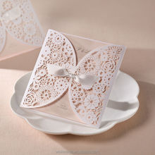 unique Wedding Invitation card white flower laser Cut design cover BH2065