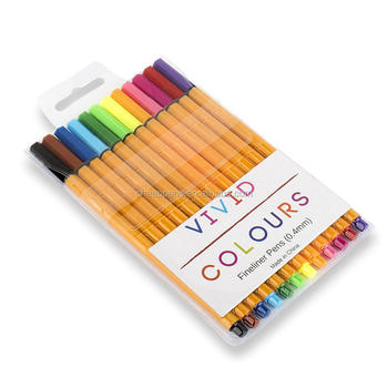 vivid colors 0.38mm needle fine metal tip fineliner drawing pen set