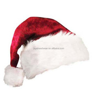 Plush christmas hat luxury christmas ball hat fanny santa hat cap
