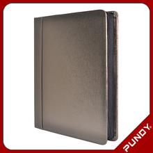 taiwan supplier A4 leather compendium/PU portfolio/file folder with LOGO embossed