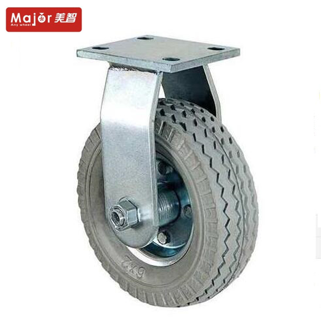 Adjustable heavy load 6x2 pneumatic rubber caster <strong>wheels</strong> with anti-slip tire