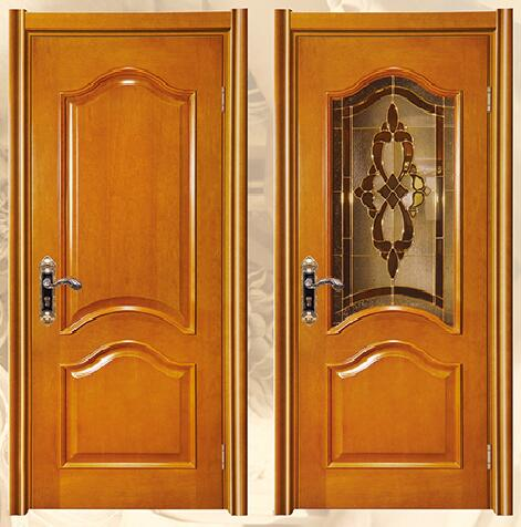 Solid wood MDF glass insert wooden interior door with door frames