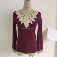 long sleeve round neck embroidery applique lace trim design lady blouse