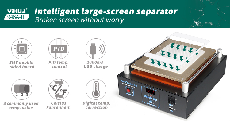 YIHUA946A-III the Tablet PC IPAD LCD digitizer separating separator machine for led tv screen
