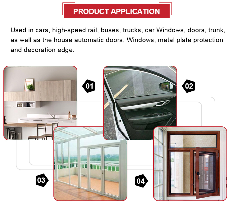 Wood door pvc plastic sealing strip for Door and window silicone rubber sealing strips