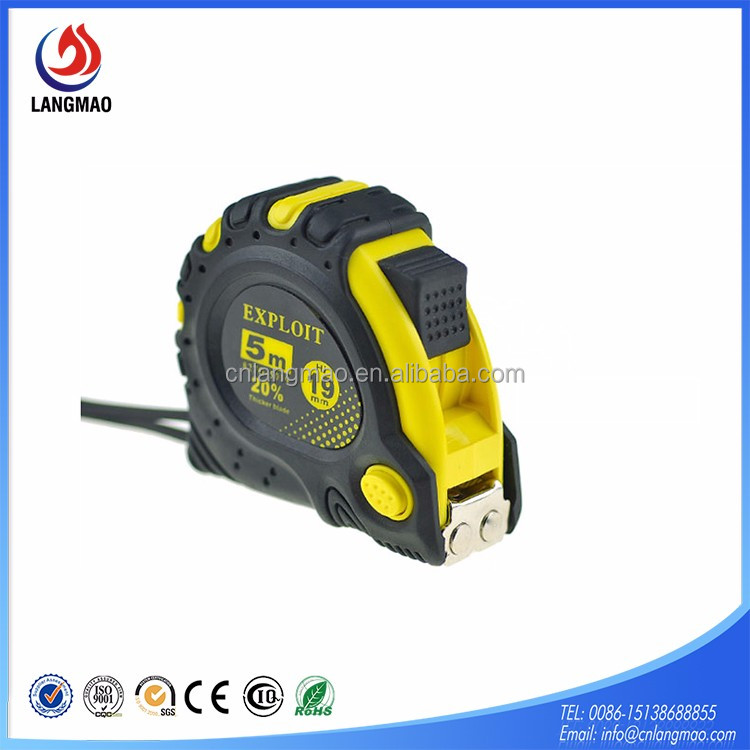 Rubber paint nylon coated metric/inch measuring tape with 25mm steel rubber covered steel tape measure