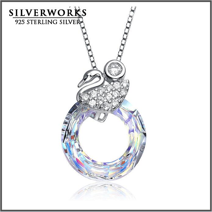 2016 Wholesale New Product Silver 925 Swan Pendant With CZ Wax Setting