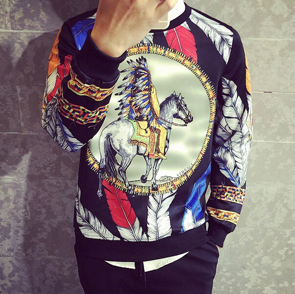 S10059A autumn big size men's modern casual colour feather knight pullover hoodies