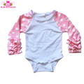Wholesale Boutique Kids Clothing Infant Cotton Ruffle Raglan Sleeves Baby Icing Raglan Rompers