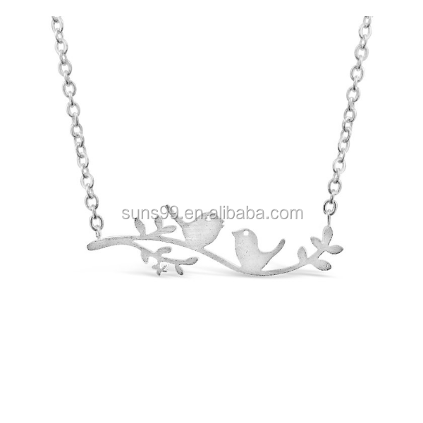 2017 New Series Jewelry For Women Stainless Steel Gold Plated Bird On A Branch Necklace