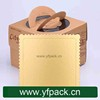 Square Kraft Paper Cake Box With Gold Card Paper Board