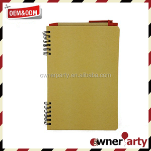 Promotion Kraft Paper Brown Notepad With Pen Eco Notebook
