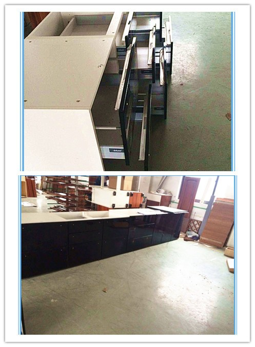 modern dark blue high gloss paiting kitchen cabinets