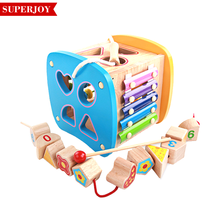Educational Wooden Learning cube bead maze toy,Multifunctional Activity cube maze,DIY wooden children cube maze SJ5153