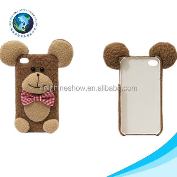 Lovely cheap mobile plush bear phone case