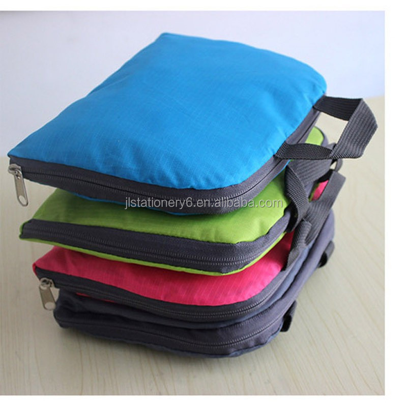 stock cheap portable outdoor nylon waterproof foldable travel backpack for promotion