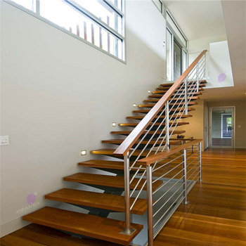 Mono Stringer Steel Cable Railing Wood Stairs