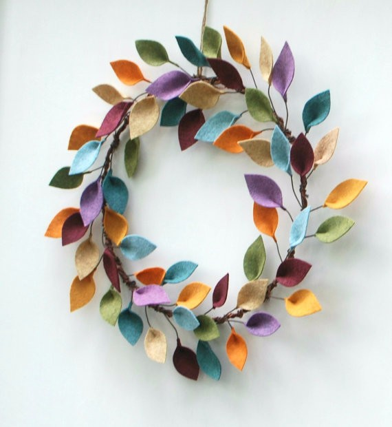 Wholesale Handmade Modern Felt Leaf Wreath