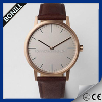 New design rose gold case simple leather watch,promotional gift watch, leather wrist watch