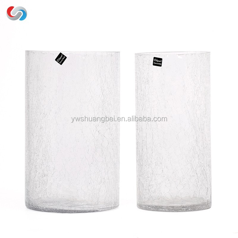 Various Sizes Crackled Glass Flower Vase For Decoration Cheap Wholesal