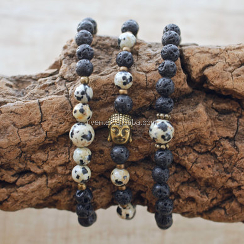 SN0853 Set of 3 Dalmatian Jasper Mala bracelet for Men Volcanic Lava Mala Jewelry set Meditation healing beads Bracelets