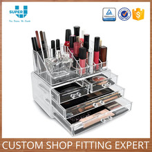 Commercial Merchandising Retail Store Furniture Acrylic Cosmetic Display Stand Rack in Beauty Salon