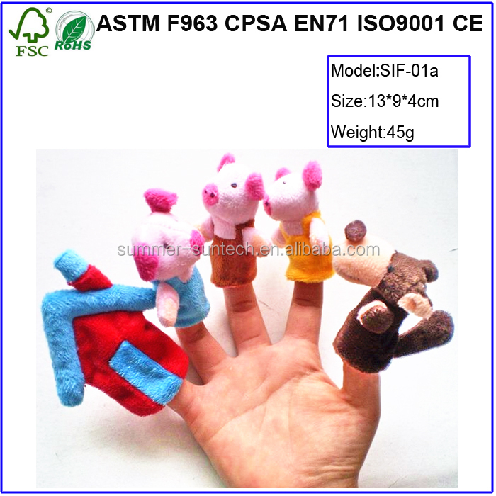 "Best Sale The Fairy Tale Finger Puppets ""The Three Little Pigs"" Baby Toys For Kids"