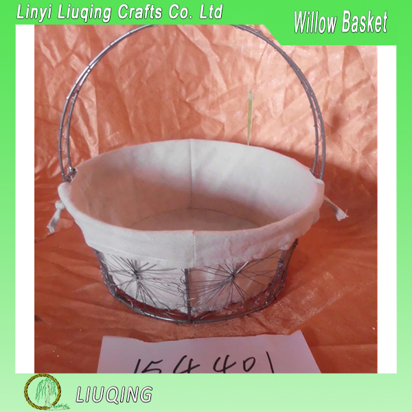 Factory Direct Hot Wire Storage Basket With Cloth Linner And Carrying Handles