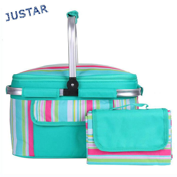 2017 Custom Design Fully Insulated Lining Travel Outdoor Empty Picnic Basket Set with a Blanket