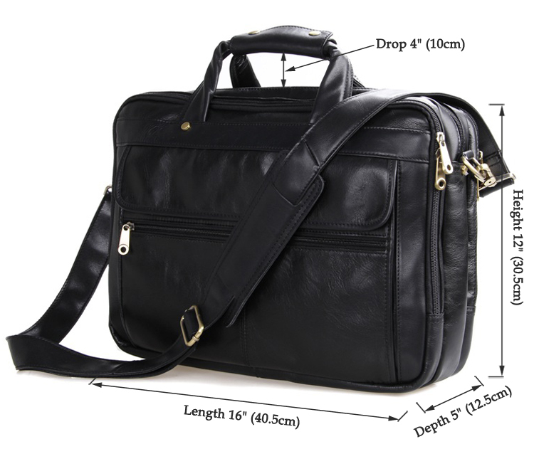 Vintage Genuine Leather Multi-function Laptop Bag For Men Business Bag #7146A