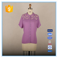 Ladies lace elegant formal shirt for short sleeves