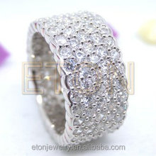 Jewelry Factory Custom-made 925 sterling silver rings with full zircons