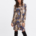 Professional factory OEM summer casual style long sleeve A line floral print dress
