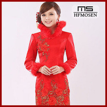 N7024 New Fashion Long Sleeve Short Cheongsam Wedding Dress