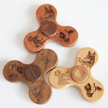 OEM logo wooden toy,three-leaf bamboo wood fingertip gyro