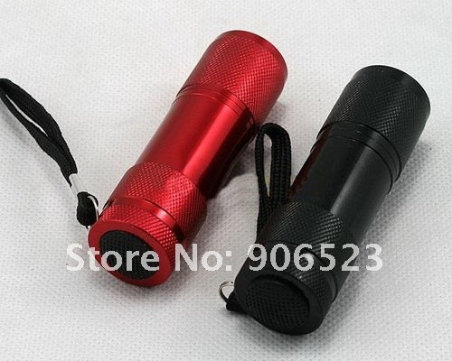 free shipping 20pcs/lot super bright 9 LED Flashlights lamp Aluminum Alloy Water-proof Torch Light