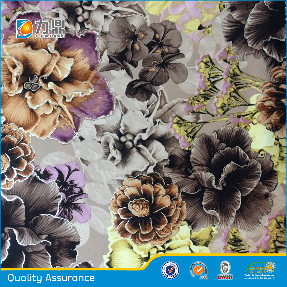 Chinese Upholstery Fabric for Sofa with Bronzing and Printing