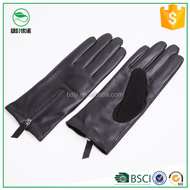 Fashion Zipper Gloves Womens Genuine Leather Gloves with thumb Suede