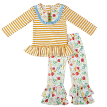 Fall most popular boutique stripe baby girls ruffle outfits
