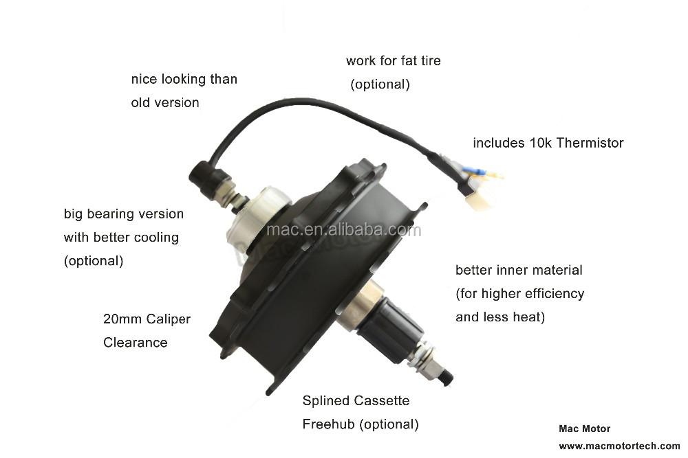 Mac 48v 1000w brushless geared hub motor for electric for Electric bike hub motor planetary gear