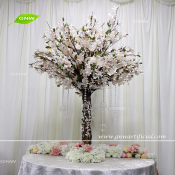 GNW CTR161008-003 5ft White Magnolia centerpiece with crystal for table decoration